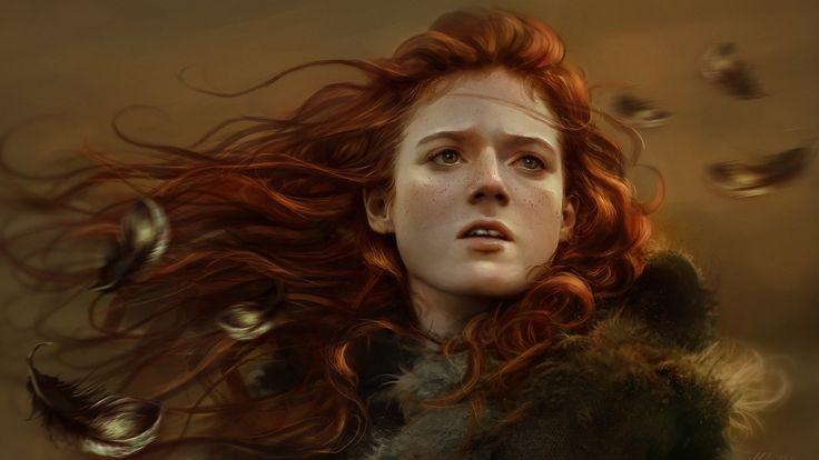 перья, ygritte, рыжая, game of thrones, арт, лицо, веснушки, девушка 1920 x 1080
