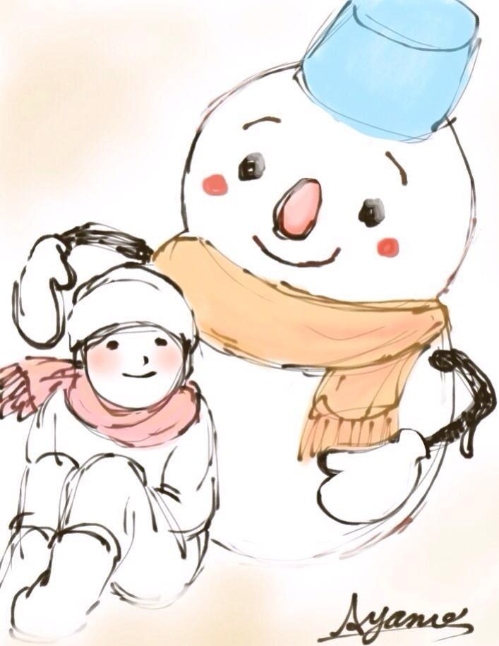 雪だるまと仲良し♪