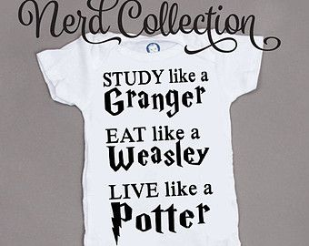 Baby Onesie Hogwarts Harry Potter Granger Weasley Study Eat Live Baby Shower Gift Nursery Funny Humerious Custom Clothing Infant Gerber