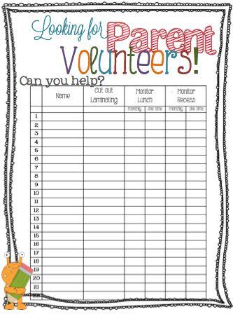 Parent Volunteer Form Free Printable - hang in hall during parent teacher conferences?