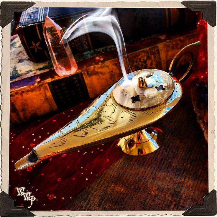 GENIE ALADDIN LAMP Brass Charcoal & Cone Incense Burner.