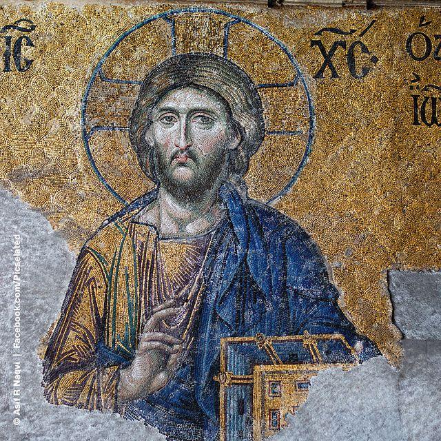 Details from Deesis, Jesus Christ, Hagia Sophia (Ayasofya), Istanbul, Turkey