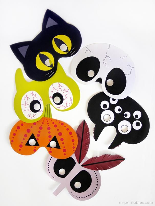 Free printable DIY Halloween masks are fun on their own, or make cool non-candy halloween treats for classrooms