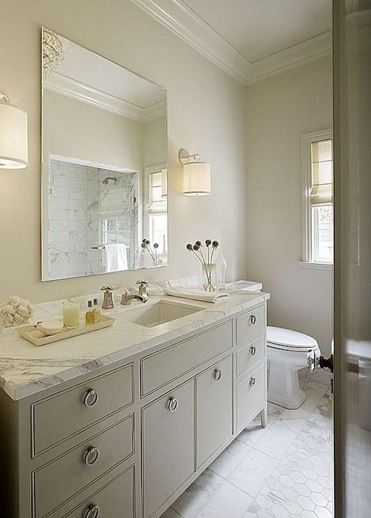 Kathleen Bost - bathrooms - inset tiles, inset floor tiles, frameless mirror, gray washstand, gray vanity, extra wide vanity, extra wide was...