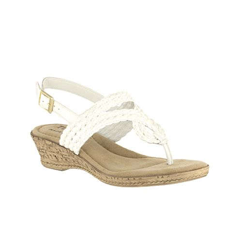 Tuscany by Easy Street Martina Women's Wedge Sandals, Size: 7 Ww, White
