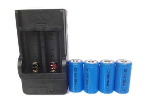 ON THE WAY4 Pcs 16340 2000mah Li-ion 3.7V Rechargeable Battery with Charger