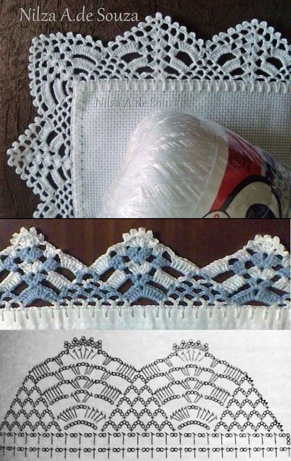 "Crochet lace edgings by Nilza Souza, from her facebook photo album ""Barrados"". I like the all-white on top best (unfortunately it does not come with a chart), but the chart given for the blue and white in the middle is similar enough to be taken as a general guide."