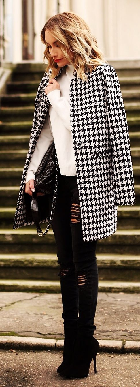 Black And White Houndstooth Coat by Rock  Roses