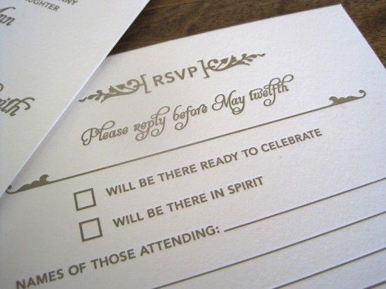 Metallic Art Deco Letterpress Wedding Invitations Reply Cards