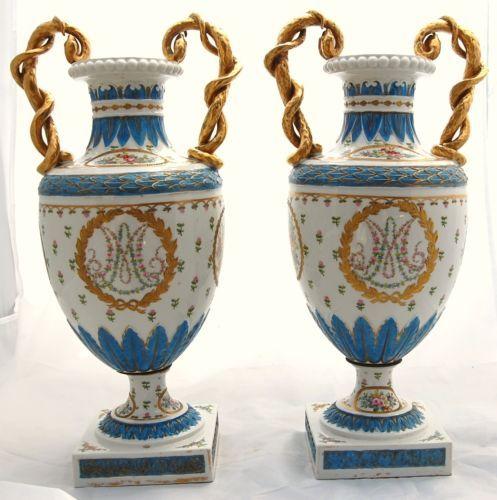 Frances-Antiguo-Porcelana-Marie-Antoinette-urna-Jarron-Dresden-Flor-Samson-Sevres