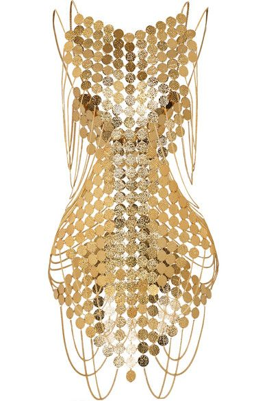Agent ProvocateurAgent Provocateur's gold-plated brass bodysuit gives homage to Cleopatra. This Egyptian-inspired piece is crafted from engraved disks linked together to form the outline of an hourglass silhouette.