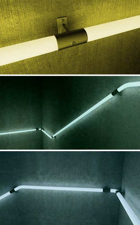 LED staircase railing lights by Zoran Sunjic.: Stair Railing, Basement Lighting, Led Handrail, Home Stairs, Railing Light, Basement Staircase, Architecture Stairs, Staircase Railing