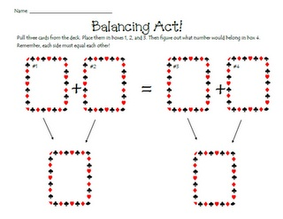 activity to practice balancing addition and subtraction equations