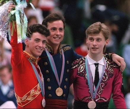 Silver medalist Brian Orser (Canada), gold medalist Brian Boitano (USA), and bronze medalist Viktor Petrenko (Ukraine) on the podium at the 1988 Olympics in Calgary, Canada.