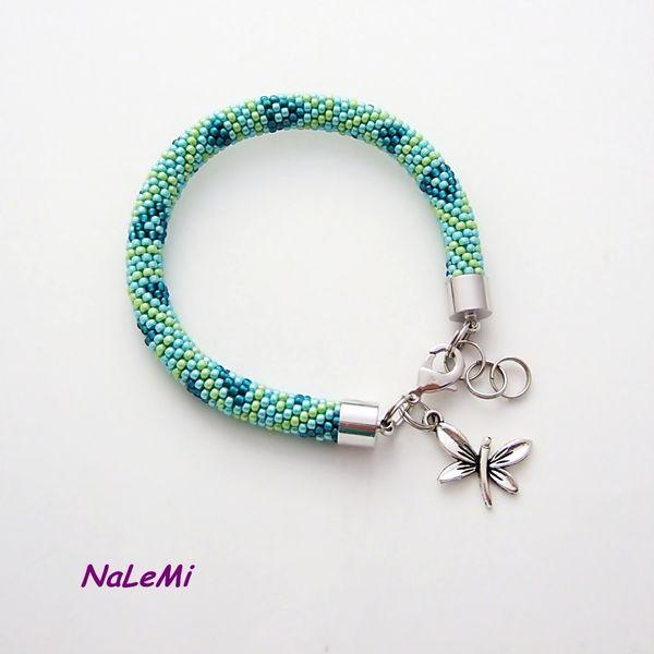 Bransoletka wąż  turkusowo-zielona w NaLeMi na DaWanda.com