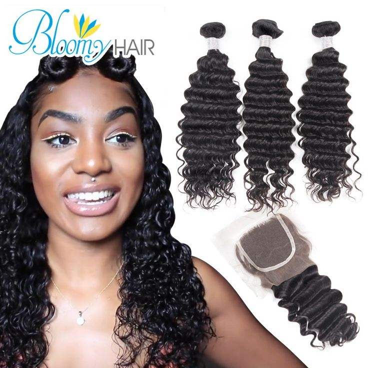 Bloomy Hair Deep Wave With Closure 4 Pcs/Lot Curly Human Hair Weave 3 Bundles With Closure Brazilian Deep Wave With Closure