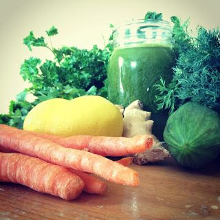 Herbal Detox Green Juice - - 4 carrots (beta-carotene, excellent for eye health)  - 4 stalks celery (great for cellular regeneration, infusing your cells with essential cell salts)  - 1 cucumber (hydration)  - 1 bunch cilantro (major heavy metal detox)  - 1 bunch dill (leaves you smelling awesome)  - 1 bunch parsley (incredibly high in anti-oxidants, and helps improve arthritic pain)  - 1 inch ginger (reduces inflammation)  - 2 lemons    Juice the above ingredients, and drink up! Enjoy!