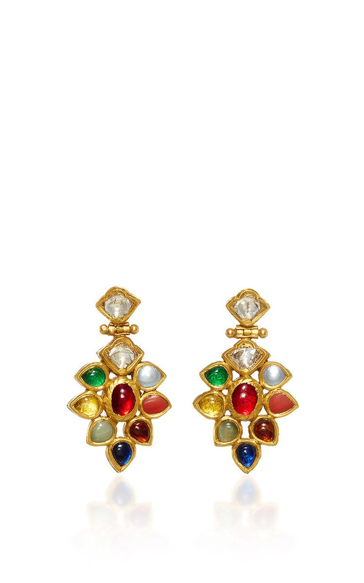 22 K Gold Diamonds & Navratna Drop Earrings by AMRAPALI for Preorder on Moda Operandi