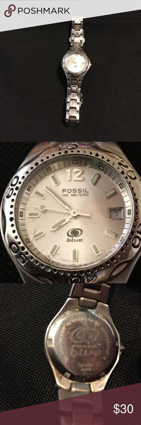❌FIRM❌Authentic Fossil Blue watch Authentic fossil blue watch in Fair condition it does have a scratches on the face in the 6,7 and 8 hour position and scratches on the back of the band and will need a battery also I have priced it accordingly for the flaws. Fossil Accessories Watches