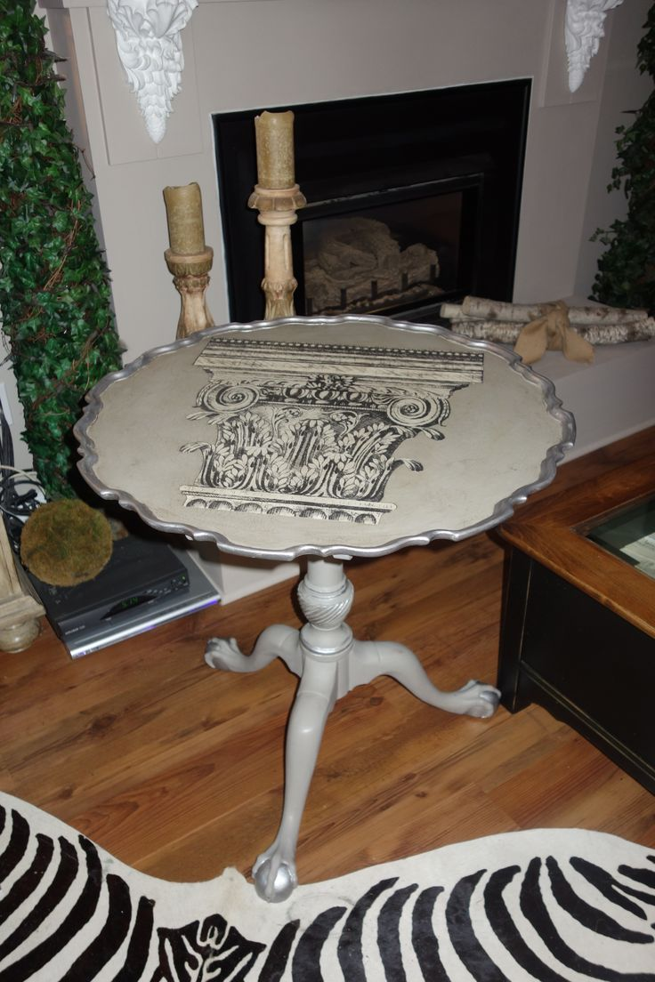 henredon tilt top table in dove fossil paint with silver accents and paris flea market paper decoupaged on top