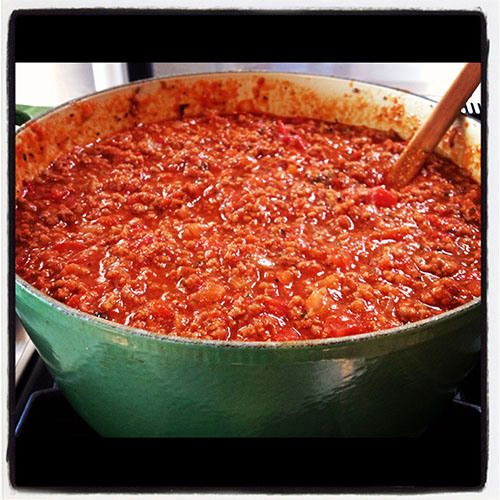 Meat sauce. Love the recipe, will look for a way to freeze and then heat in a slow cooker with noodles