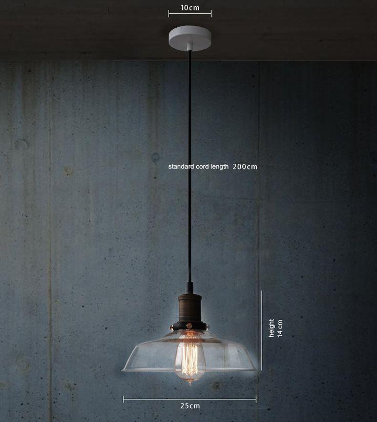 Vintage Industrial Pendant Light - Glass