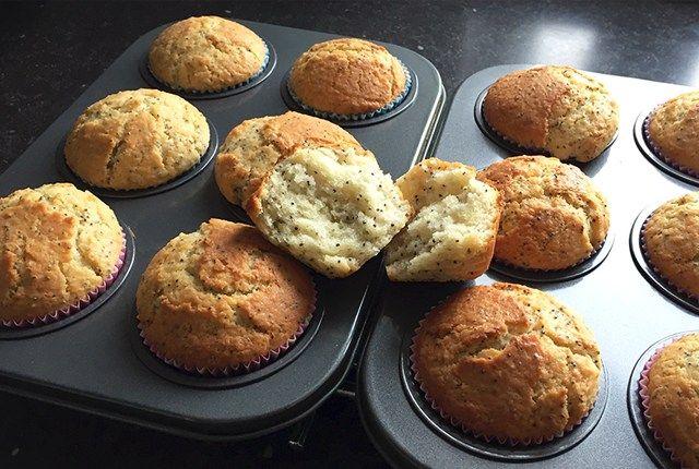tarwevrije citroen maanzaad muffins