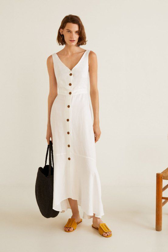 125c6f2917 Mango White Button Front Back Detail Linen Maxi Dress