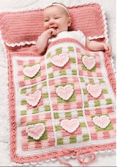 Beautiful Baby Sleeping Bag, Nap Sack, Blanket, Playpad, Diaper Changer Matt All In One Crochet in Hearts Motive