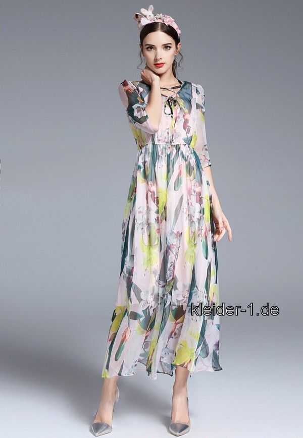 Sommerkleid Lang Mit Bunte Muster Dresses With Sleeves Fashion Short Sleeve Dresses