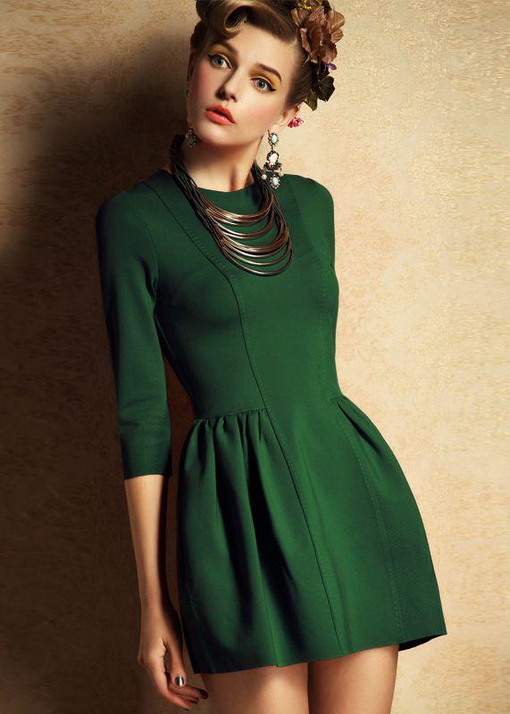 Green Half Sleeve Zipper Slim Dress - Sheinside.com