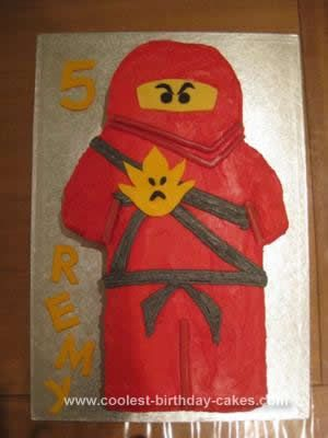 Homemade  Lego Ninjago Cake: My three boys are obsessed with the new Lego Ninjago sets. Here is a cake of Kai, the red and coolest Ninja, made for my middle son's 5th birthday.   I