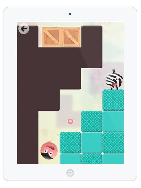 """Thinkrolls"" ist eine bunte Spiele-App mit süßen, Kekse knabbernden Charakteren."