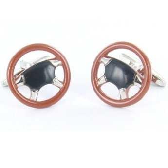 Gemelos para camisa, Gemelos de acero bañados en Rodio, Gemelos esmaltados, Volante de madera. http://www.tutunca.es/gemelos-volante-madera