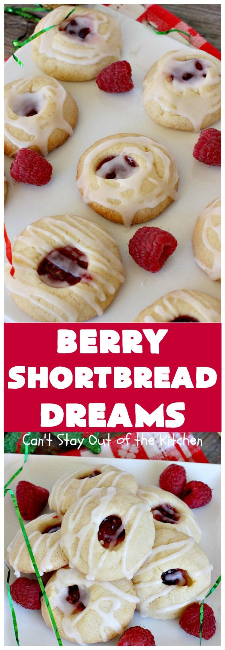 Berry Shortbread Dreams | Can't Stay Out of the Kitchen | these dreamy #cookies are filled with #raspberry preserves and have an #almond shortbread base as well as almond icing. They are terrific for #holiday parties. #dessert