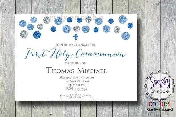 Boys Communion Invite Baptism Invitation by simplyprintable