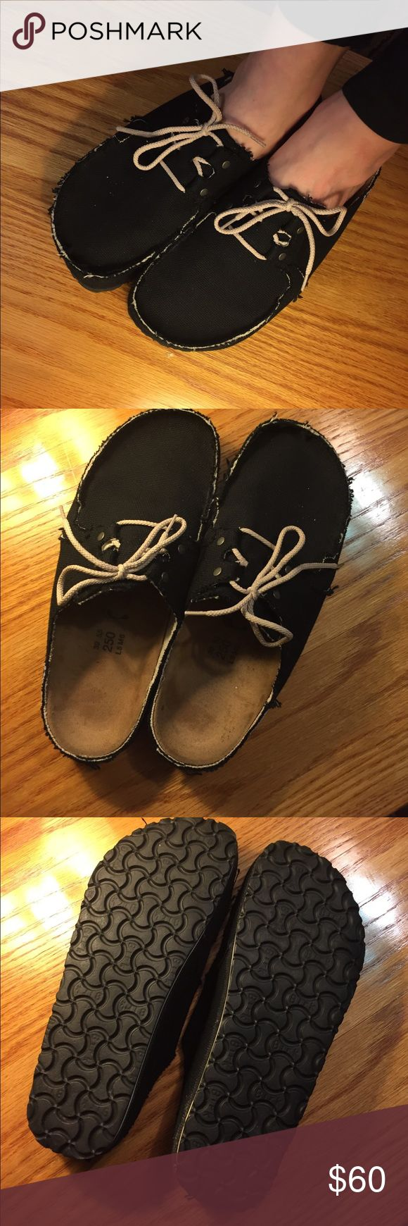 Black boat shoe style Birkenstock clogs Hipster black canvas boat shoe style Birkenstock clogs. Brand new condition! Birkenstock Shoes Mules & Clogs