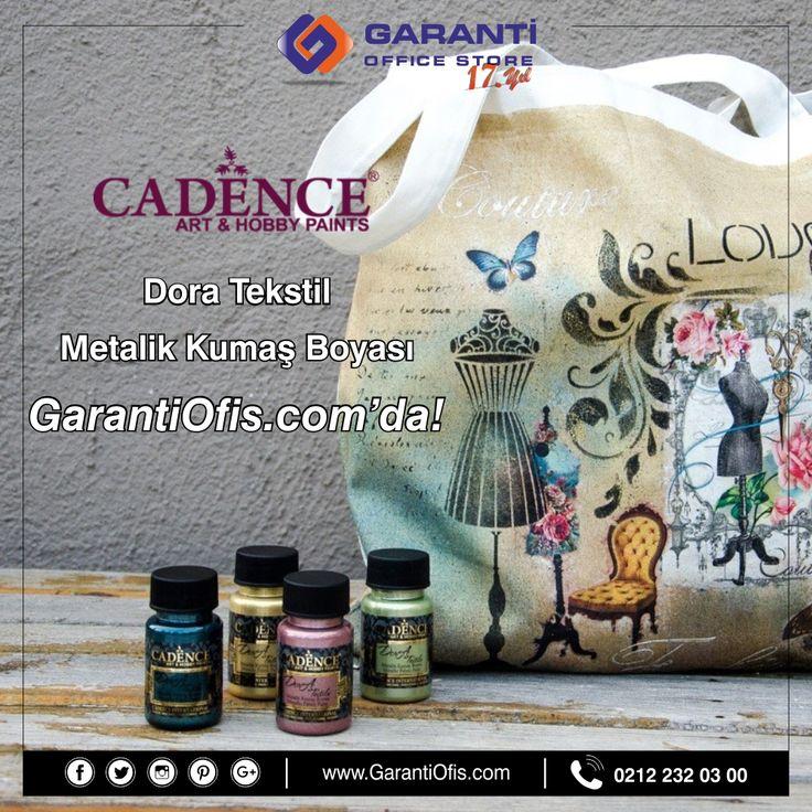 Cadence dora tekstil boyaları ile kumaşlarınıza metalik efekt vermek artık çok kolay! Hızlı kargo ve İstanbul içi ücretsiz kargo avantajı ile GarantiOfis.com'dan online satın alabilirsiniz.  #kumasboyasi #cadence #cadenceboya #cadencedora #cadencedoratekstil #metalikboya #metalikkumasboya #hobimalzemeleri #hobby #garantiofis