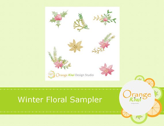 Winter Floral Sampler Stickers Floral Stickers Winter