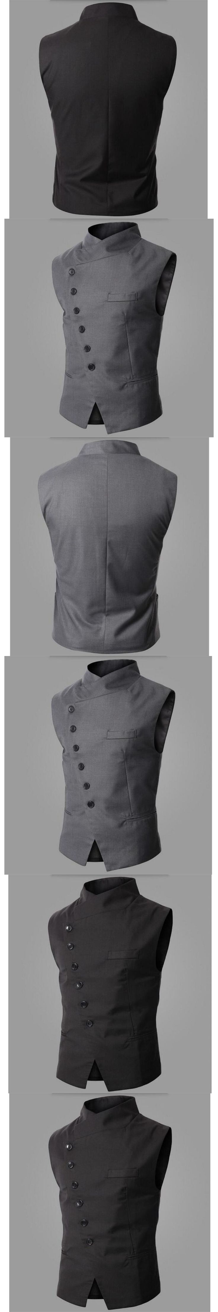 Fashion Men Suit Vest Design Mens Slim Fit Black Gray Inclined Breasted Waistcoat Autumn Casual Vest wedding groom vest