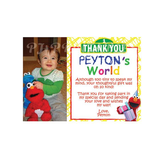 Elmo's World / Sesame Street Thank You Cards by PJsPrintables