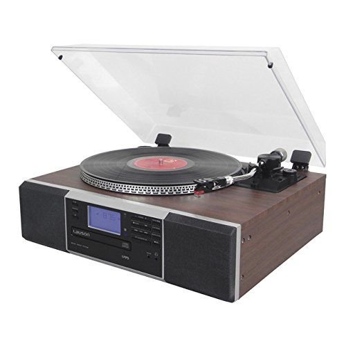 Cheap Lauson CL142 Turntable Bluetooth USB mp3 and Function Encoding Classic Vinyl Record Player Wood whit CD Radio Built-in Speakers Best Selling
