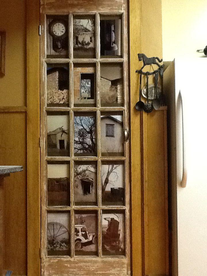 Repurposed glass panel door picture frame.