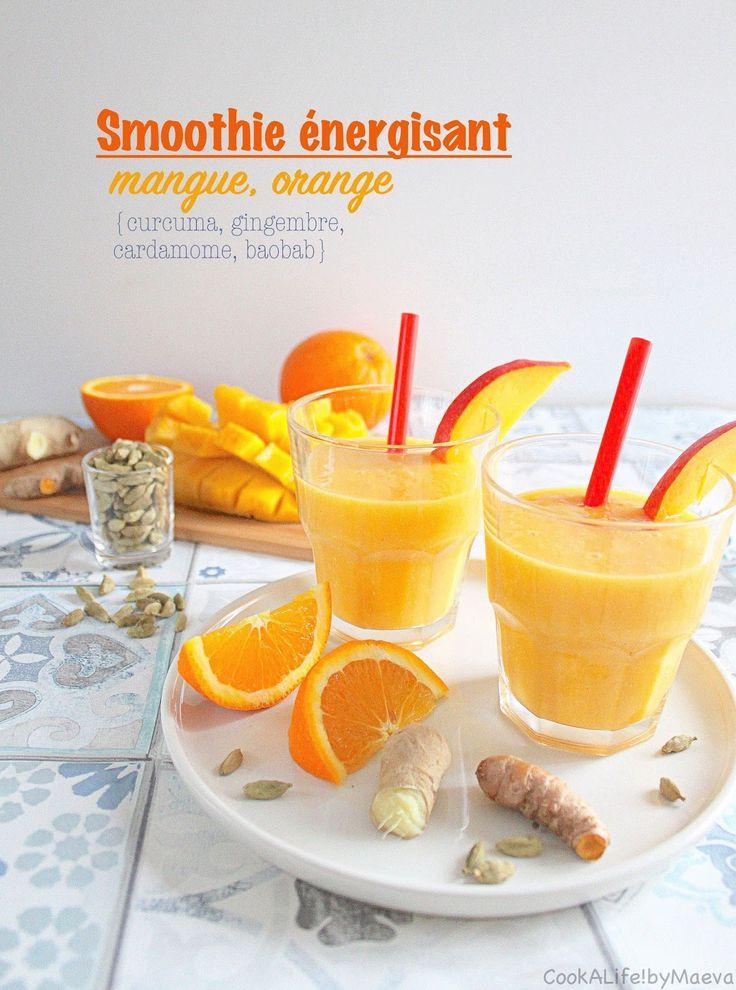 Winter boosting orange mango smoothie: turmeric, ginger, cardamom, baobab • Smoothie d'hiver énergisant : mangue, orange, cardamome, gingembre, curcuma et baobab