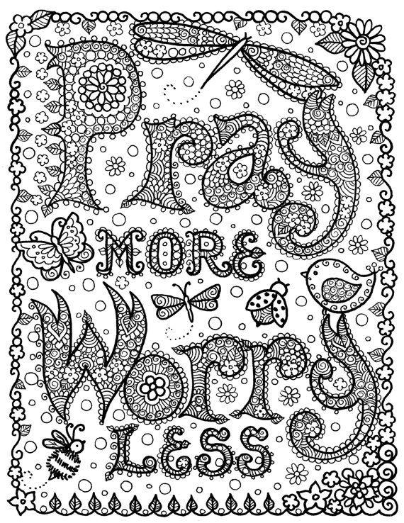 INSTANT Download Pray More Digi Print Original Art for You to CoLoRr Size 81/2 x 11
