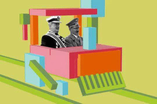Horthy Miklós és kis barátja vidáman vonatoznak