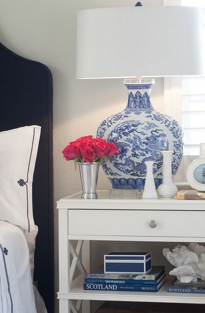Blue and white Bedroom Nighstand Decor. #Blueandwhite #Bedroom #nightstandDecor AGK Design Studio.