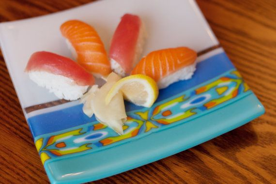 Glass fused square sushi plate with pattern bar by KalonaR on Etsy, $75.00