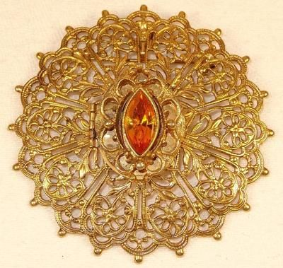 Vtg Large Goldtone Filigree Amber Rhinestone Solid Perfume Locket Brooch Pendant | eBay