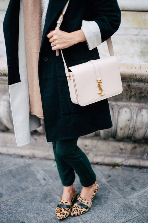 colorblock coat, blush YSL bag \u0026amp; leopard loafers #style #fashion ...